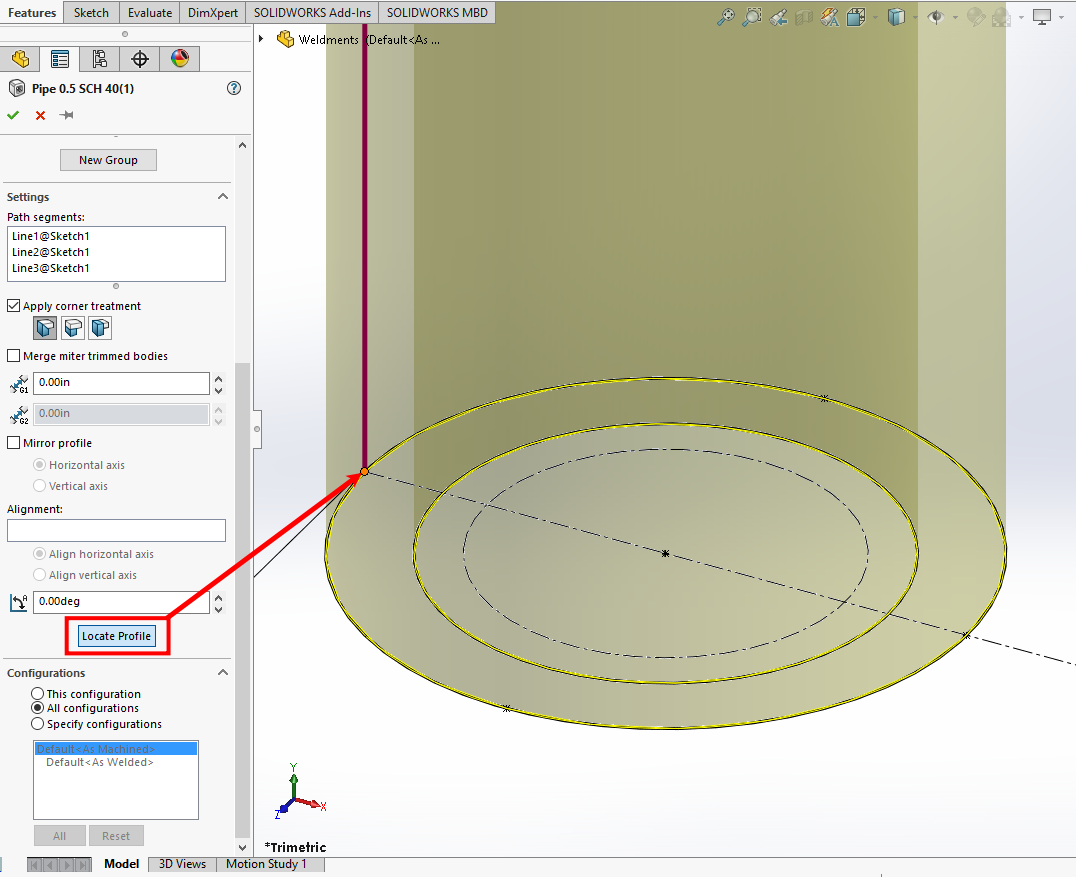 SOLIDWORKS Locate Profile button