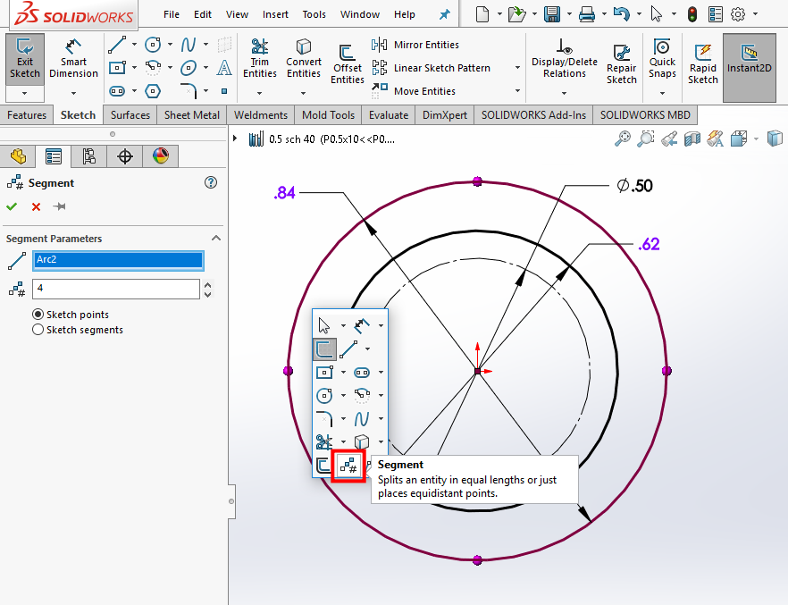 SOLIDWORKS Segment Command