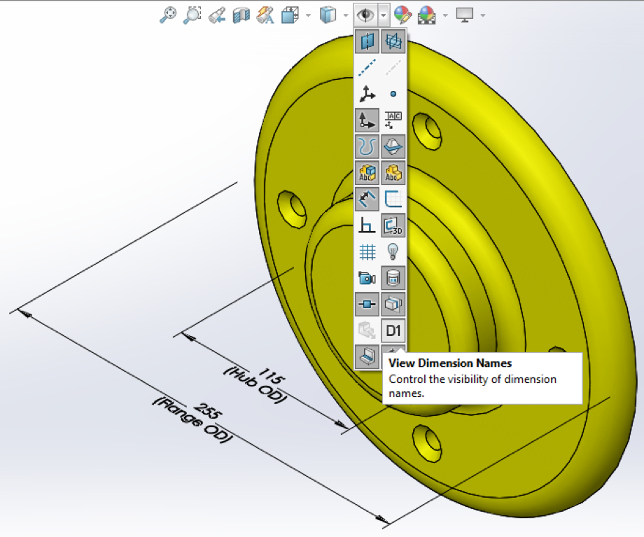 SOLIDWORKS View Dimension Names