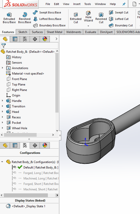 SOLIDWORKS User Interface FeatureManager Design Tree