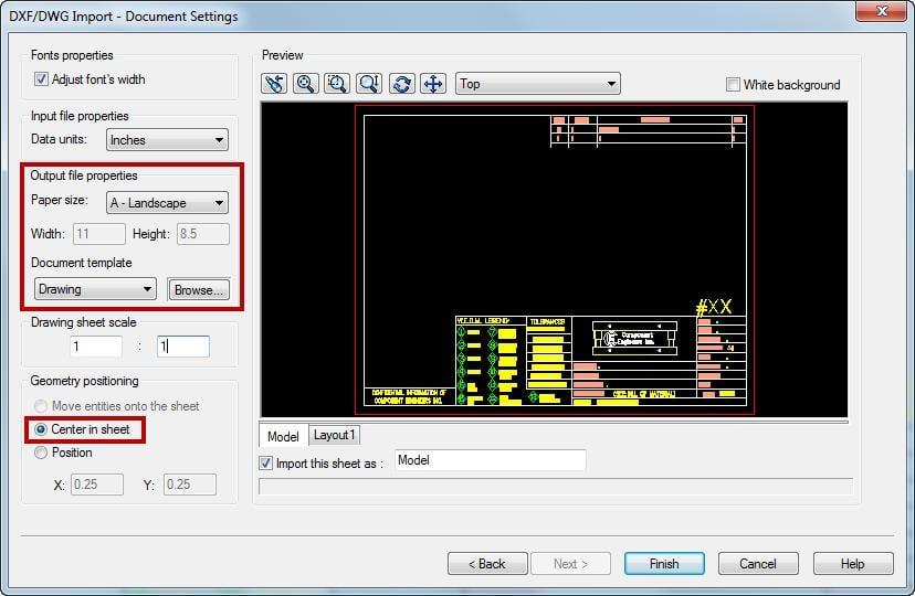 DXF/DWG Import - Document Settings