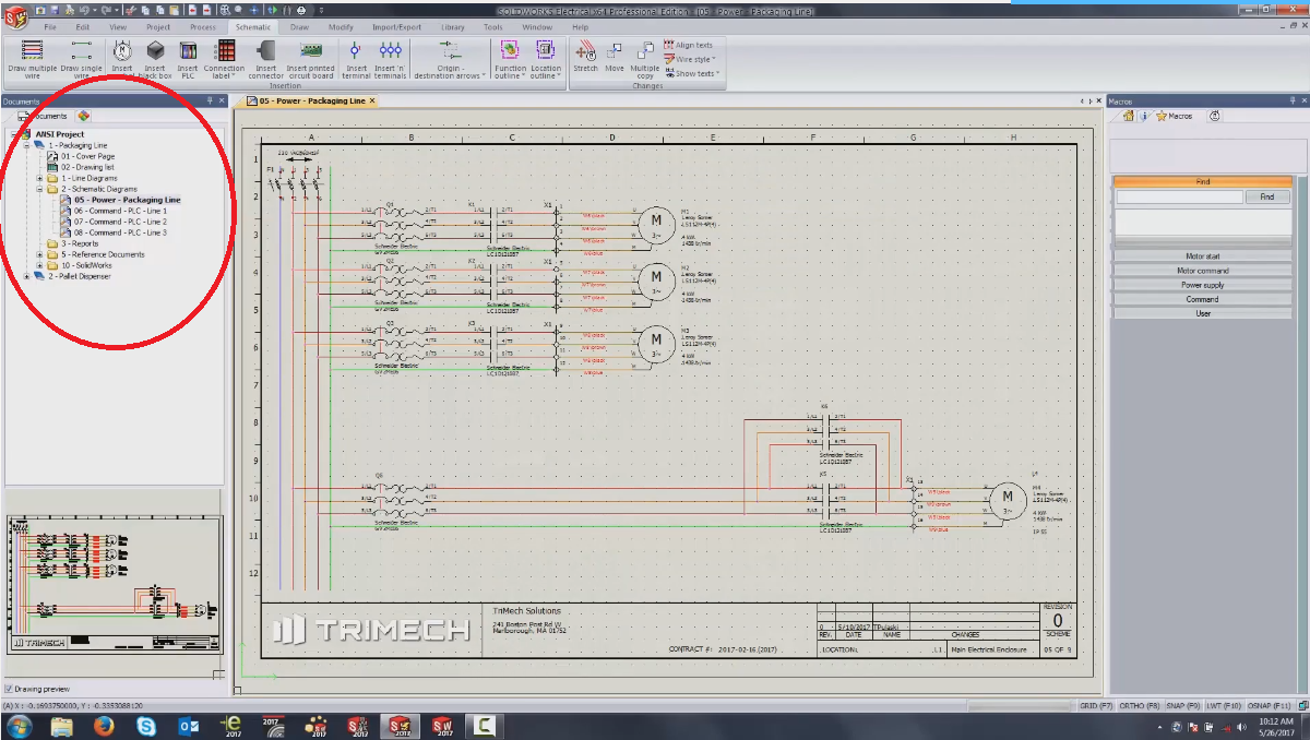 SOLIDWORKS Electrical Project Browser