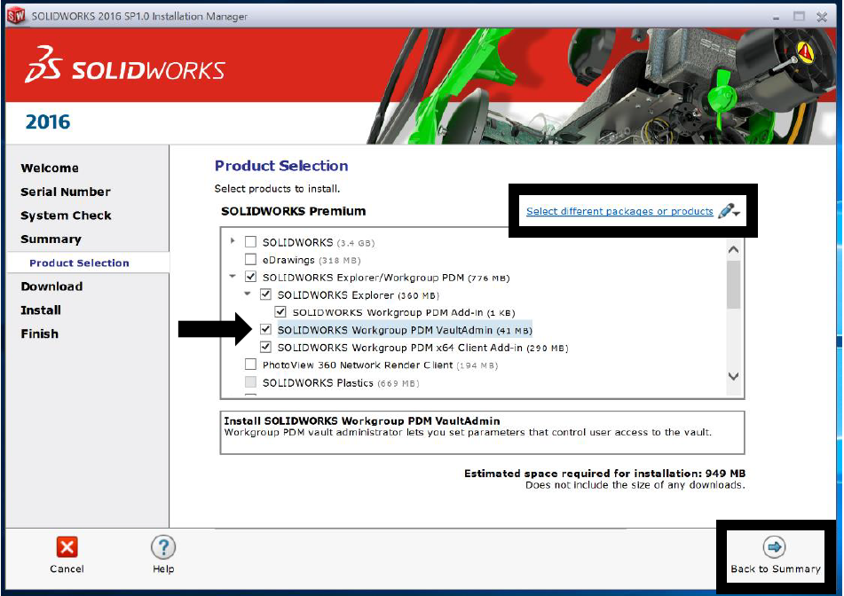 How To Install Workgroup PDM Admin tool Product Selection