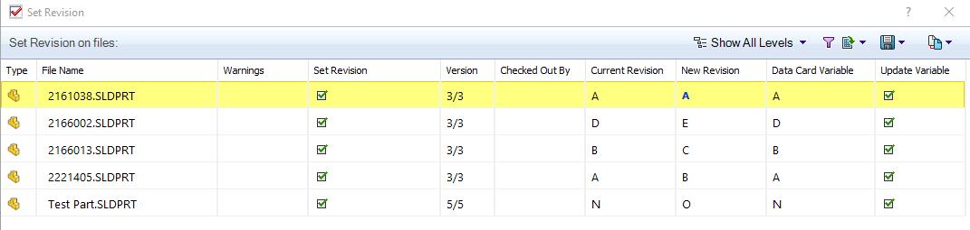 New Revision PDM drop-down menu