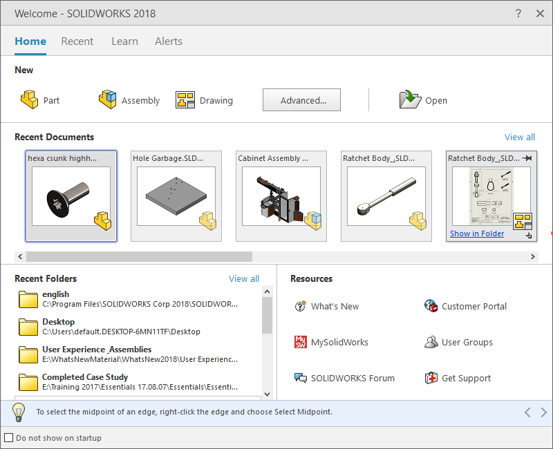 SOLIDWORKS Welcome Dialog