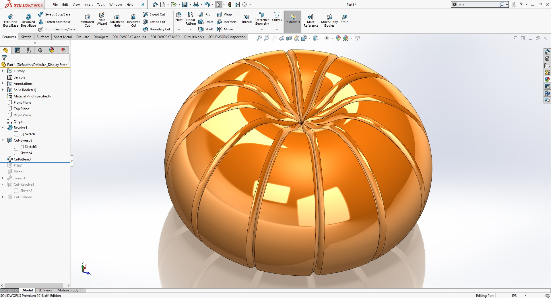creating pattern in SOLIDWORKS