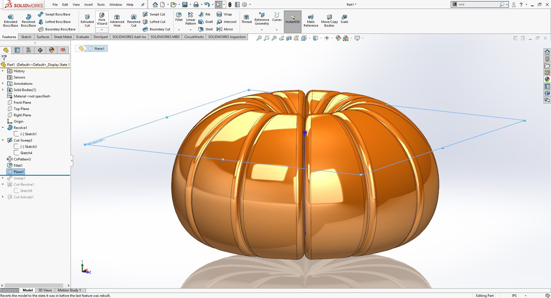 SOLIDWORKS Solid Sweep
