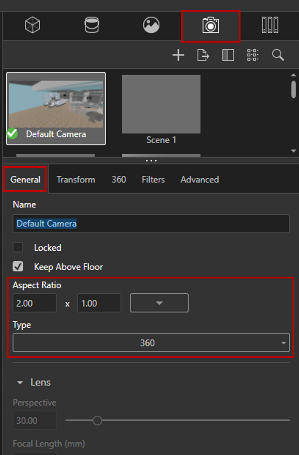 Create a new camera and set to 360