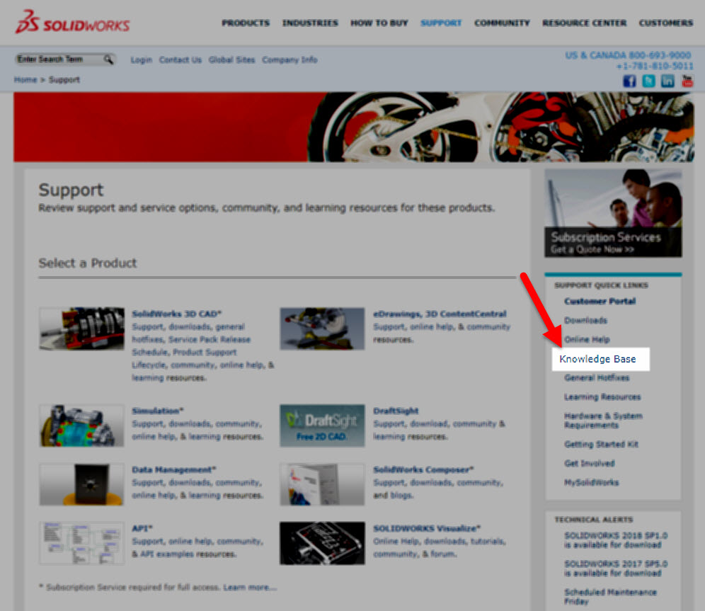 Where to find SOLIDWORKS Knowledge Base in the Support section