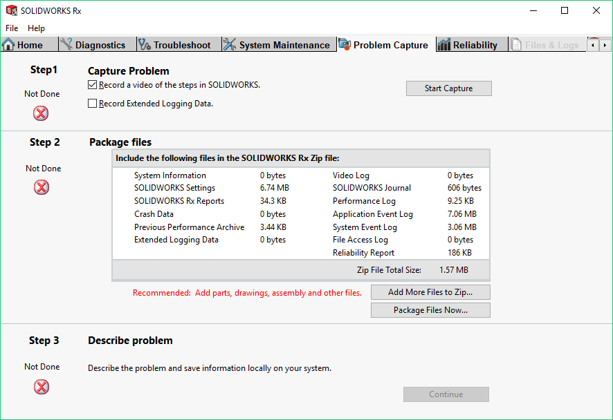 SOLIDWORKS Rx will allow you to record any issue you may have