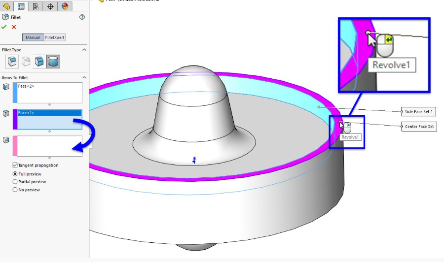 Example of right mouse button in SOLIDWORKS