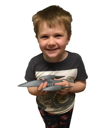 Evan with 3D Printed SW Starship 2 (1)