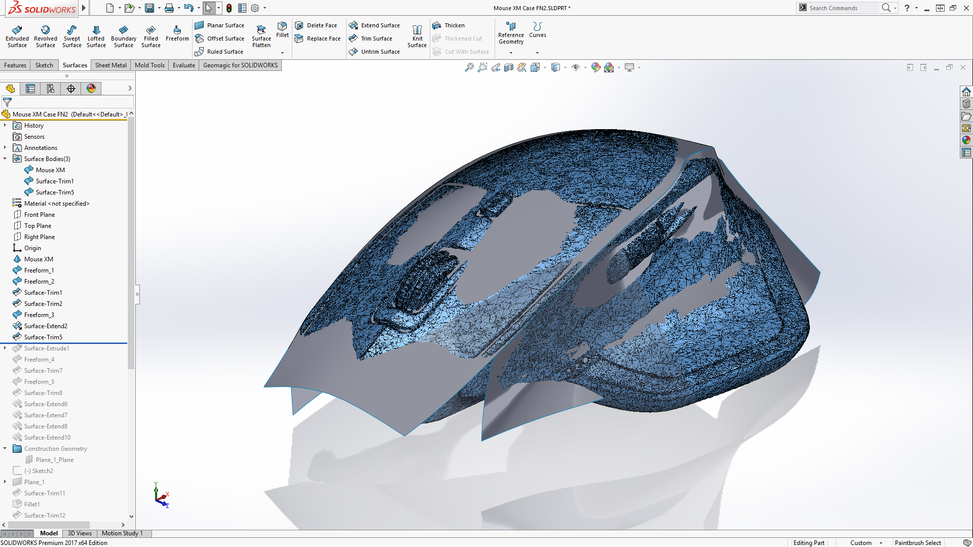 With the imported STL file you are able to apply surfaces
