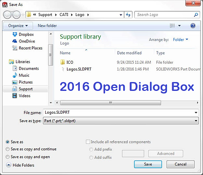 SOLIDWORKS 2016 Open Dialog Box