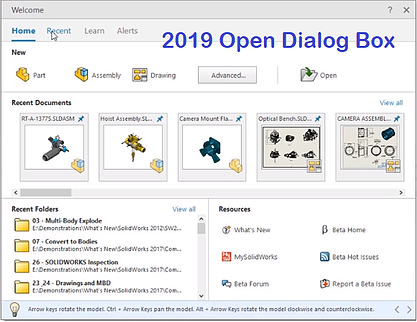 SOLIDWORKS 2019 Open Dialog Box