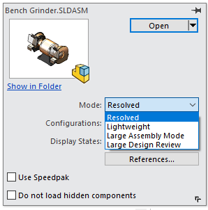 Opening a part in the Open Dialog Box in SOLIDWORKS 2019