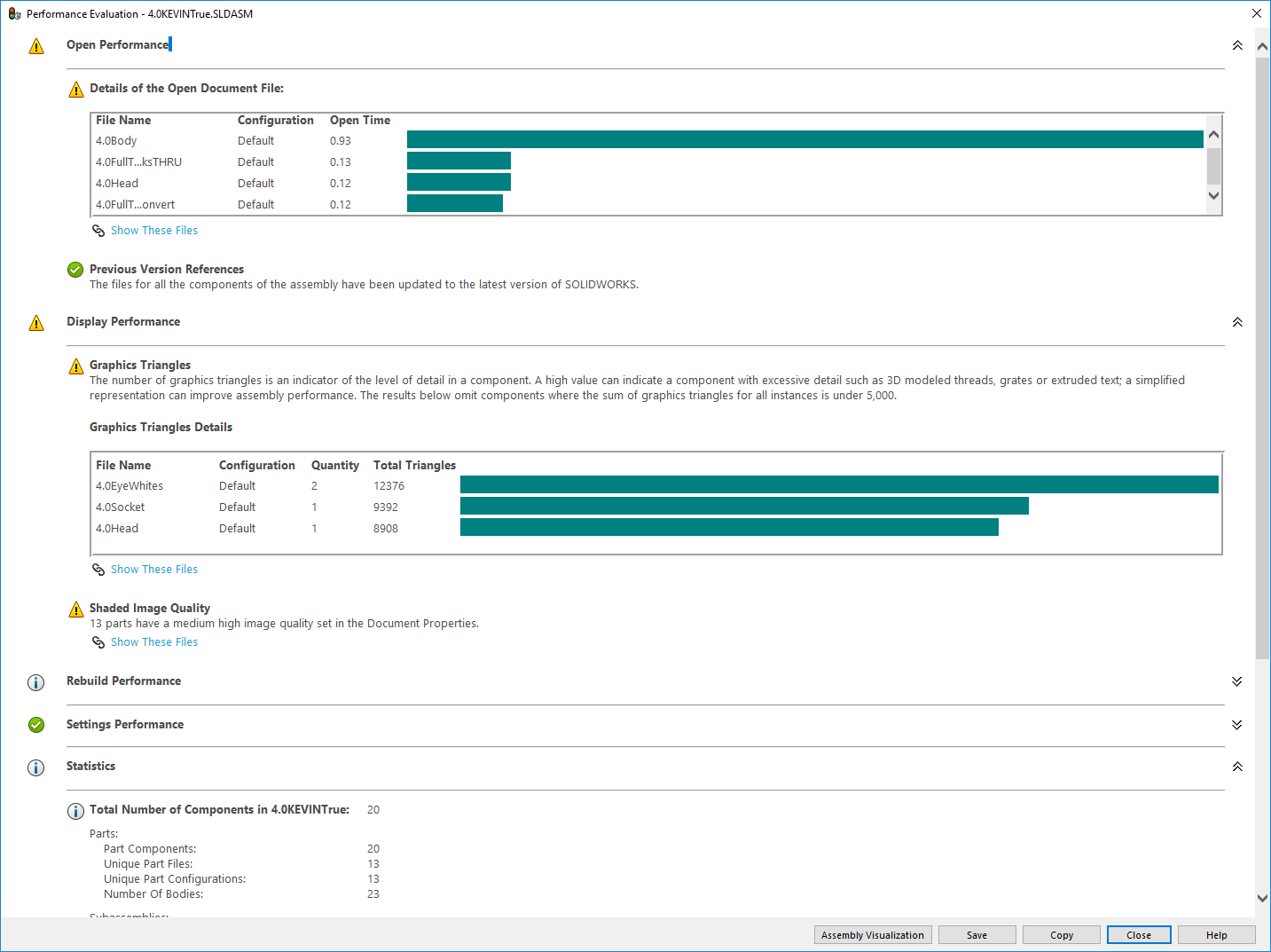 SOLIDWORKS Performance Evaluation tool