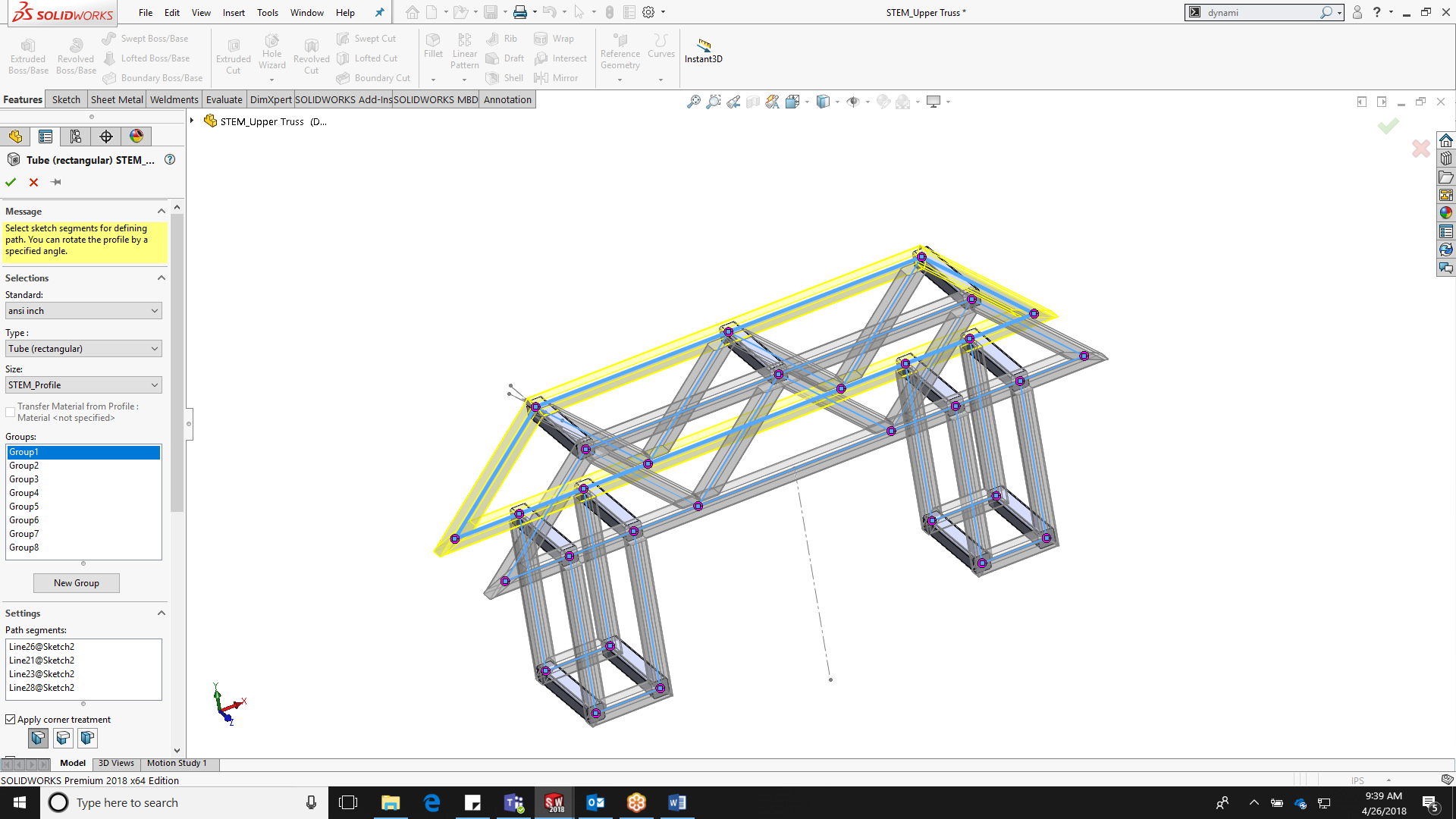 Truss design in SOLIDWORKS