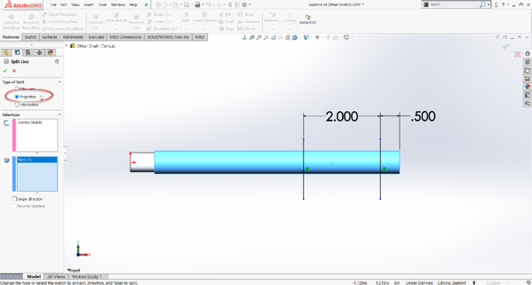 Knurled Surface Measurement Projection in SOLIDWORKS