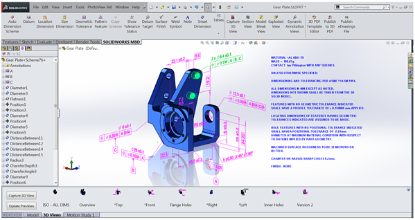 Part Annotated with SOLIDWORKS MBD
