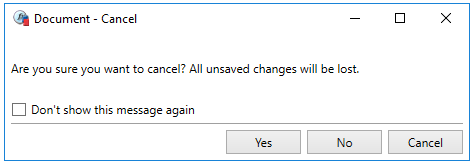 Popup Cancel Document Warning