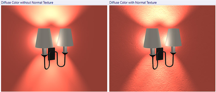 Diffuse color without and with normal texture