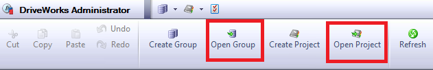 Open Group & Open Project buttons