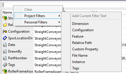 Preset Project Filters