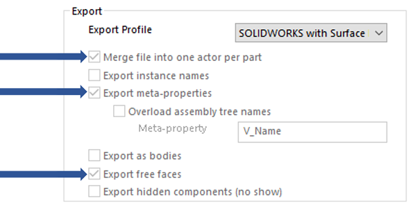 Export Profile SOLIDWORKS With Surface Parts