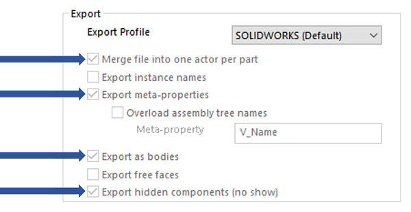 Export Profile SOLIDWORKS Default