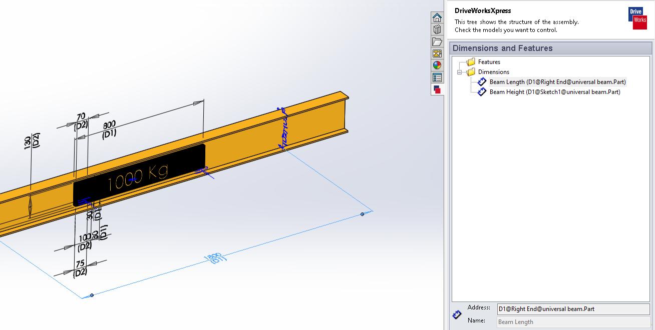 driveworks control dimensions