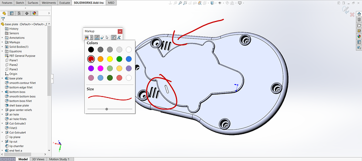 Markups in SOLIDWORKS