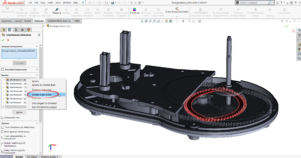 SOLIDWORKS Interference Detection