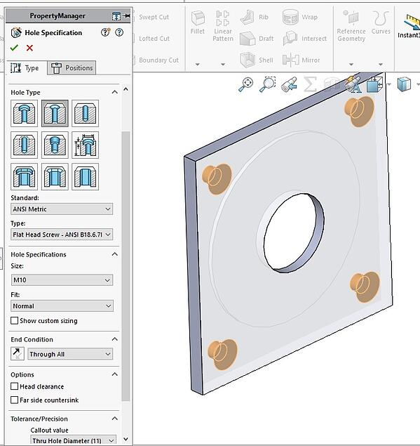 Hole Wizard SOLIDWORKS Feature