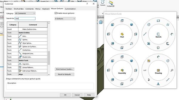 Mouse Gestures in SOLIDWORKS