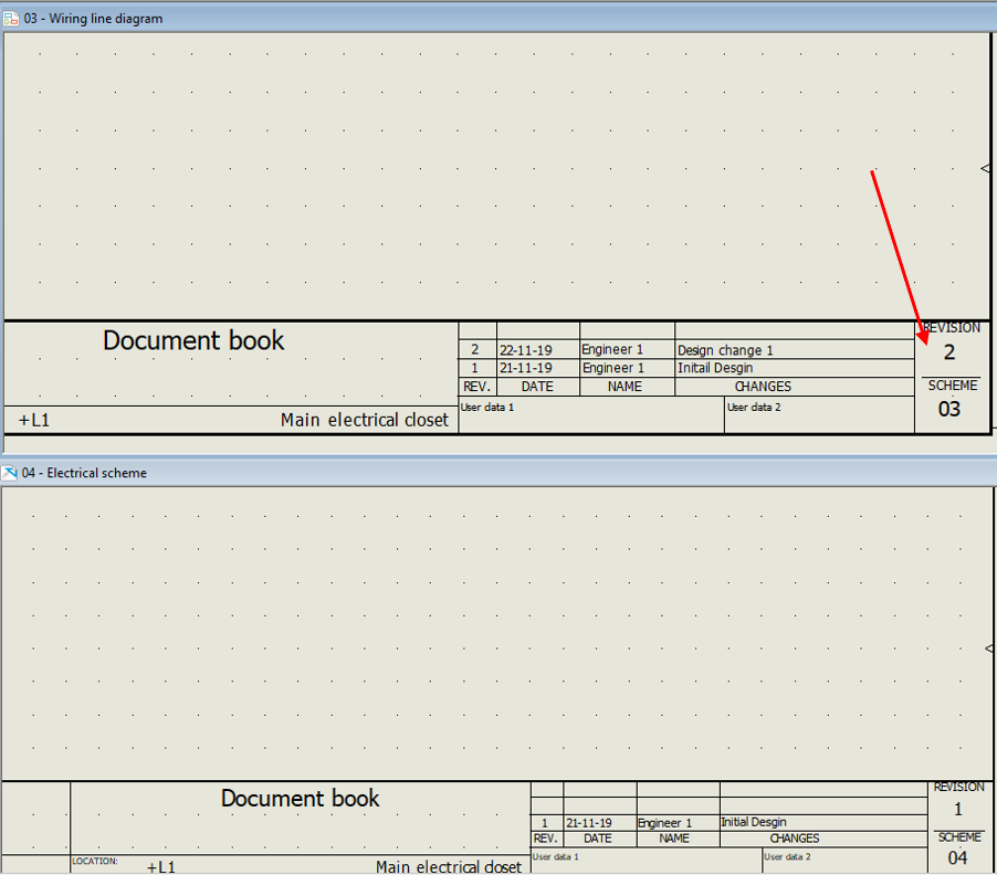 Revision 2 of wire line diagram in SOLIDWORKS Electrical