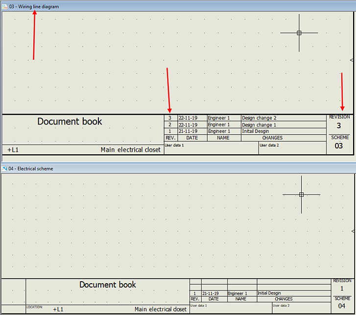 Revision 3 of wiring line diagram in SOLIDWORKS Electrical
