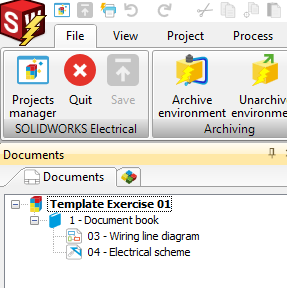 Wiring line diagram in SOLIDWORKS Electrical