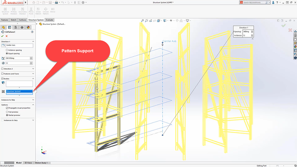 Pattern support in SOLIDWORKS_2020