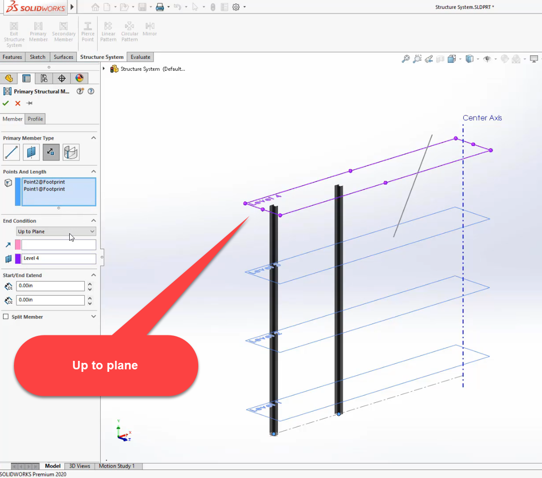 Up to plane selection in SOLIDWORKS 2020