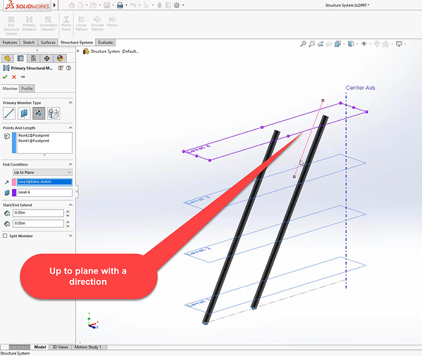 Up to plane with direction selection in SOLIDWORKS 2020