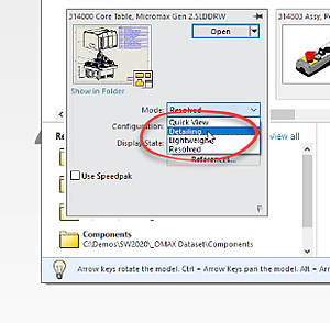 Detailing Mode Selection in SOLIDWORKS 2020
