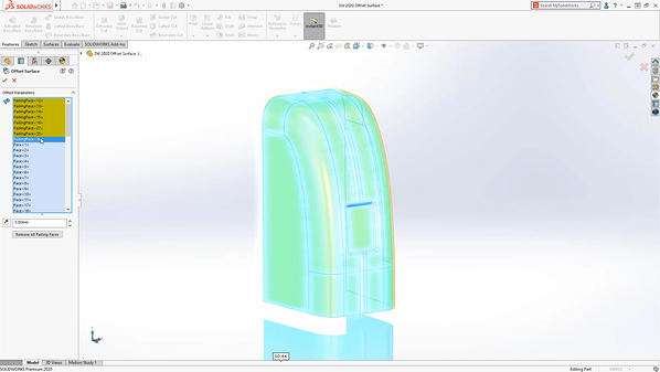 Surface offset in SOLIDWORKS 2020