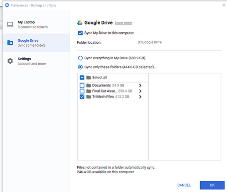 Google Drive Dialog Box