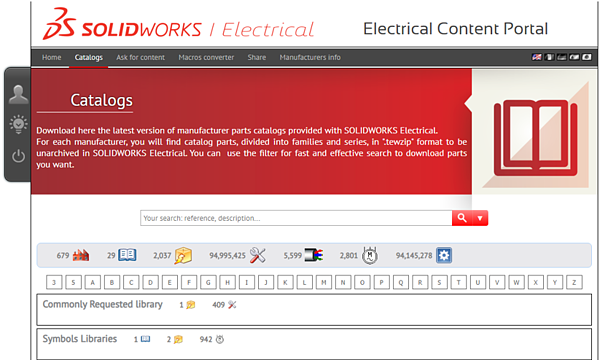 Catalogs in SOLIDWORKS Electrical Content Portal