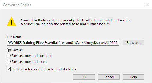 Convert to Bodies SOLIDWORKS Option