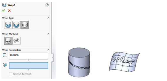 Wrap feature in SOLIDWORKS