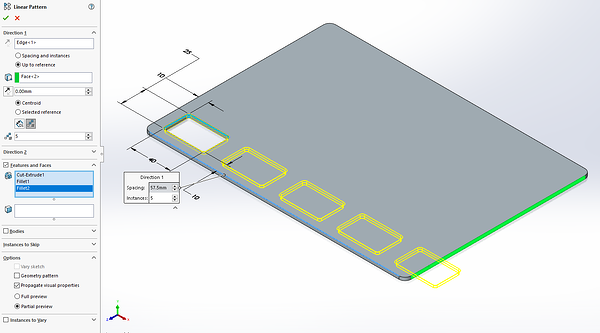 Pattern selected reference in SOLIDWORKS