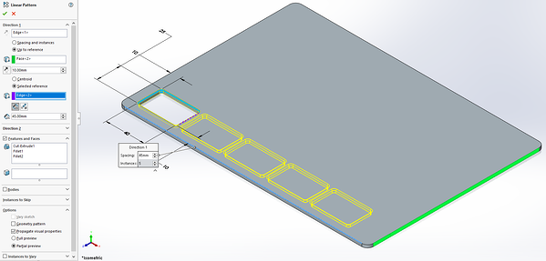 Selected reference in SOLIDWORKS