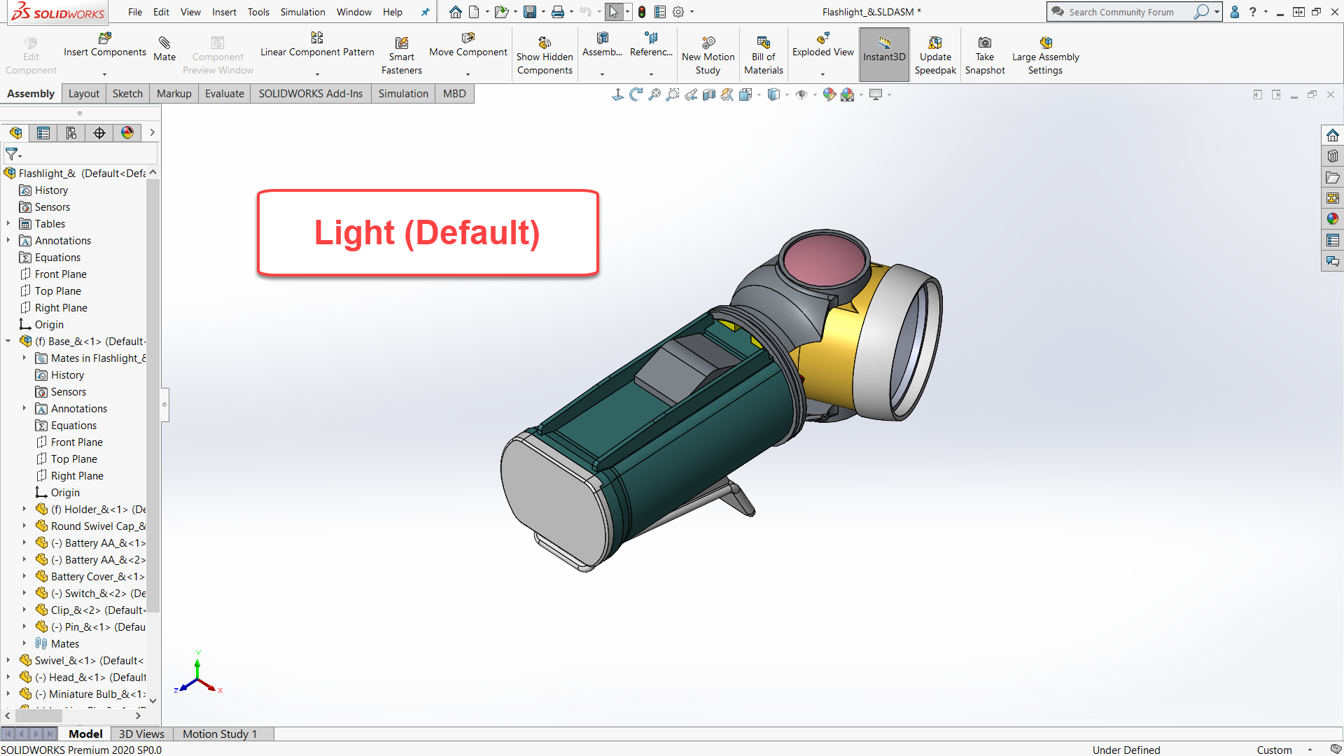 SOLIDWORKS light background